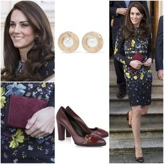 WKW Erdem 'Evita' Dress ($1875) ♥ Tod's Fringed Pumps ($375) ♥ Mulberry 'Bayswater' Clutch in Cranberry ♥ Oscar de la Renta Hammered Gold Plated Faux Pearl Earrings ($190) ♥