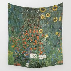Gustav Klimt - Farm Garden With Sunflowers Wall Hanging Tapestry by Elegant Chaos Gallery - Small: x Minimalist Landscape, California Poppy, Annual Plants, Farm Gardens, Gustav Klimt, Tapestry Wall Hanging, Outdoor Walls, Pretty In Pink