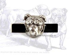 Neo Victorian Tie Clip English Bulldog Vintage Style Inlaid in Hand Painted Glossy Black Enamel Tie Bar Accent