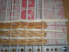 alap szögletes Поделка изделие Плетение Коробок с плетёным дном Продолжаю учиться Идея с удобными стоячками Трубочки бумажные фото 7