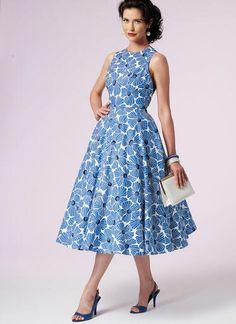 V8788   Misses' Back-Wrap Dresses   Vogue Patterns Formal Dress Patterns, Dress Sewing Patterns, Apron Patterns, Vogue Patterns, Robes Vintage, Vintage Dresses, Miss Dress, Vintage Vogue, Flare Dress