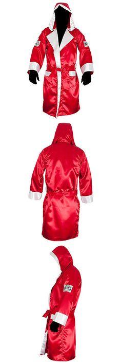93b1532b85 Cleto Reyes Satin Boxing Robe with Hood - Red  White