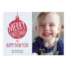 Red Ornament Blue Chevron Photo Christmas Card.$1.95