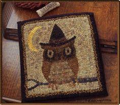 Witch OwL ? PrimiTive OriginaL Hand Hooked WooL HaLLoween FaLL Rug MaT OOAK #NaivePrimitive