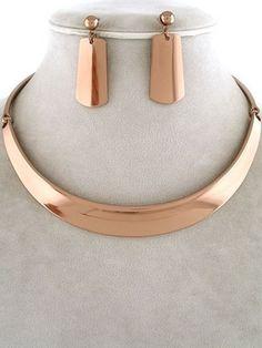 High Polish Copper Tone Choker Design Collar Necklace Earrings Jewelry Uniklook
