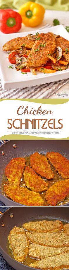 The Perfect Chicken Schnitzels! Baked Chicken Recipes, Fish Recipes, Chicken Schnitzel, Perfect Chicken, German Recipes, Cooking Recipes, Healthy Recipes, Man Food, Winner Winner