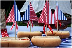 Hot dog sailboats....cute for patriotic or nautical party!  :D