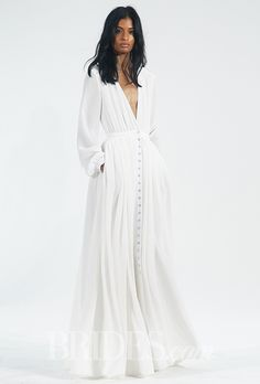 Houghton Wedding Dresses - Fall 2015 - Bridal Runway Shows Long-sleeve V-neck floor-length silk wedding dress with Crystals from Swarovski buttons, Houghton Trendy Dresses, Nice Dresses, Short Dresses, Dresses With Sleeves, Dress Long, Long Gowns, Long Sleeve Silk Dress, Short Sleeves, Dress Sleeves
