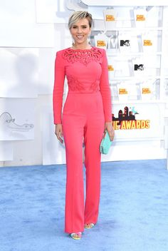 Scarlett Johansson in a Zuhair Murad Jumpsuit at the 2015 MTV Movie Awards