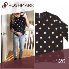 Black sheer crop with gold sequin polka dots Sheer black boxy crop top with gold sequin polka dots Brand||English Factory  Size||S Nordstrom Tops