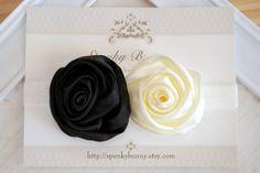 Black and Ivory Rose Elastic Headband  Wedding by SpunkyBunny, $7.00