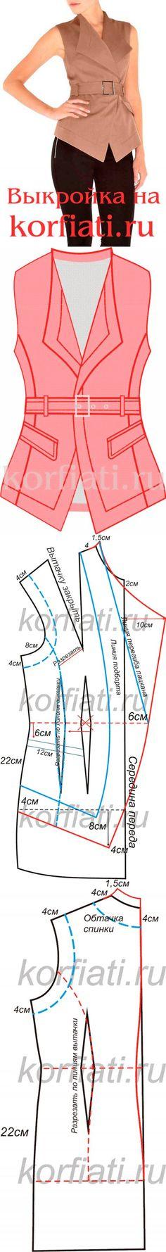 Как сшить жилет - выкройка от Анастасии Корфиати...<3 Deniz <3