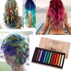 Farebné kriedy na vlasy (12 farieb)