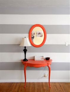 Stripes and tangerine accents