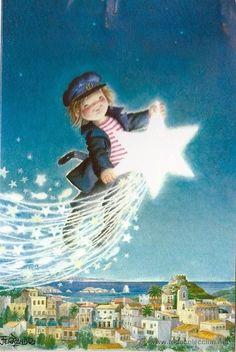 Beauty Illustration, Cute Illustration, Beautiful Lights, Beautiful Pictures, Little Nice Things, Preschool Christmas Crafts, Spanish Painters, Good Night Moon, Star Art