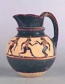 Coupe attique à fig noires, groupe des komastes, 575 – 565 av. JC, Louvre