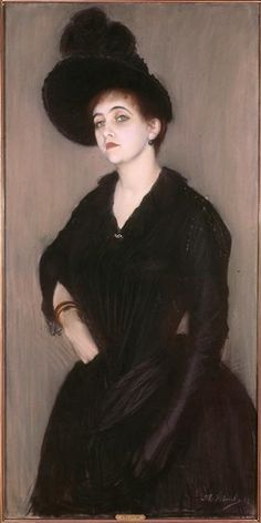 ▴ Artistic Accessories ▴ clothes, jewelry, hats in art - Jacques Emile Blanche | Portrait of Marie-Blanche Vasnier, 1888