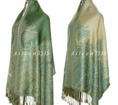 Triple Layer Pashmina Silk Paisleyshawl Green D | eBay