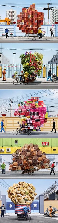 SHANGHAI'S BIKE COURIERS BY ALAIN DELORME. The result of stacking as much as possible on their bicycles and carts creates slowly moving scluptures through the streets of Shanghai!!  www.richard-neuman-artist.com