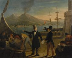 "Sale 131 Lot 268    ITALIAN SCHOOL   (19th century)   ENGLISH MERCHANTS WITH VIEW OF THE BAY OF NAPLES AND MOUNT VESUVIUS   oil on canvas;   inscribed G. M.F., l.c.;   29 x 35 3/4 inches         Estimate $3,000-5,000     Condition: canvas has been treated with stiffner, 3"" restoration, center and 4"" u.l.; new stretcher    Sold for$19,360.00"