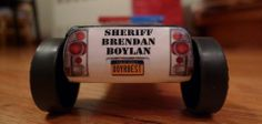 Brendan's pinewood derby police car (rear view). #cubcontest