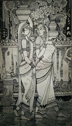 Madhubani Art, Madhubani Painting, Phad Painting, Indian Art Gallery, Kalamkari Painting, Mandala Art Lesson, Indian Folk Art, Indian Art Paintings, Art Drawings Sketches Simple