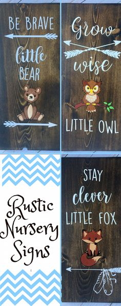 Adorable rustic woodland nursery signs! Stained in dark walnut with white lettering and each one hand painted with its individual woodland animal. Be Brave little bear/stay clever little fox/grow wise little owl/ woodland nursery sign/ woodland nursery decor/ Woodland baby shower gift #RusticDecor #NurseryArt #DiyRoomDecor #LivingRoomDecor #affiliate #FarmhouseDecor #NurseryDecor #HomeDecorIdeas