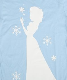 Womens Frozen Elsa Silhouette Snowflakes T-Shirt 2
