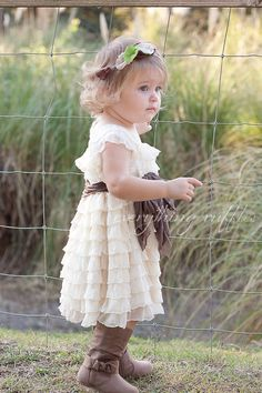 Ruffle Flower Girl Dress - Ivory with Taupe Sash by Everything Ruffles - Cap Sleeves, 2 INCH Ruffles