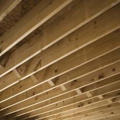 Drywall sheets are fastened to the ceiling joists.