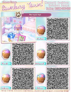 A wide choice of qr codes for Animal Crossing New Leaf and Happy Home Designer Animal Crossing Hair Guide, Qr Code Animal Crossing, Animal Crossing Qr Codes Clothes, New Leaf Hair Guide, Hair Color Guide, Leaf Animals, Cute Animals, Acnl Hair Guide, Baby Activity