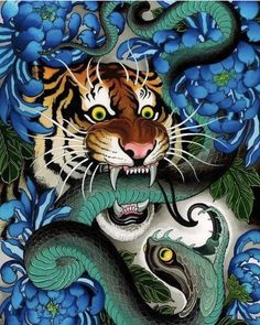 One of the paintings I just finished . I got some prints available at the peace out Japanese Drawings, Japanese Tattoo Designs, Japanese Sleeve Tattoos, Tattoo Japanese, Demon Tattoo, Tiger Tattoo, Tattoo Animal, Irezumi Tattoos, Snake Art
