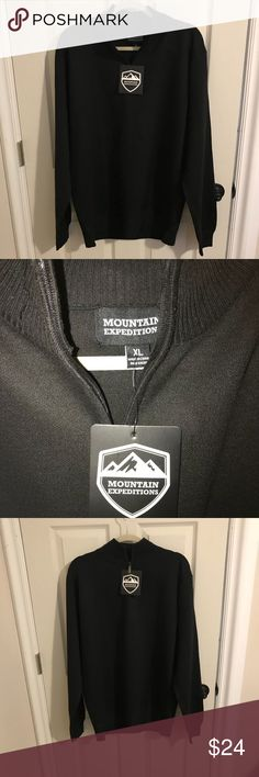 Men Mountain Expeditions Sweater New w tags Men's XL black Mountain Expeditions brand half-zip Sweater. New w/ tags. Sells new from $75. Sister-in-law bought 3 for my husband for Xmas & they didn't fit but she never let me know how to return them so you'll get a steal of a deal. I also have a gray & navy blue one. Ribbed collar, sleeves & bottom. Fits like a tailored custom look.  Machine wash. Non-smoking household. Mountain Expeditions Sweaters Zip Up