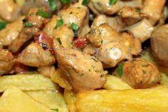 Raxo con patatas y pimientos de Arnoia   Restaurante tapería Alpunto en A Coruña