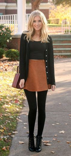 #fall #outfits  women's white crop top, brown mini skirt black leggings, and black buttoned cardigan outfit