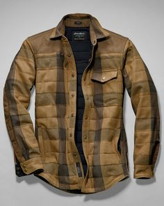Men's Woodhacker Heavy Twill Shirt Jacket: Roughhewn heritage, easy-wearing lifestyle. Starting with the rugged cotton twill shell and waxed cotton/polyester canvas overlays at shoulders and forearms, this shirt jacket won't shrink from hard work. Inside, 60 grams of ThermaFill® insulation in the body and 40 grams in the sleeves provide chill-fighting comfort. Snap closures at center front, chest pocket, and cuffs.