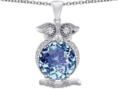 Amazon.com: Original Star K(tm) Large 10mm Round Simulated Aquamarine Good Luck Owl Pendant in 925 Sterling Silver: Star K: Jewelry