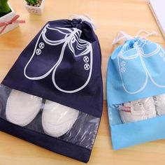 Travel Waterproof Drawstring Shoe Bags 1 Large/ 1 Small