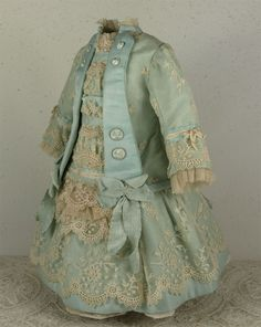 Wonderful Aqua Silk Satin Couturier Costume and Bonnet for FRENCH BEBE Doll