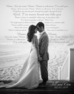 wedding pic with lyrics to your wedding song written in the background. LOVE IT!