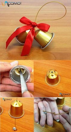 How to make Christmas bells with Nespresso capsules - Basteln - noel Christmas Bells, Diy Christmas Ornaments, Christmas Projects, Kids Christmas, Christmas Decorations, K Cup Crafts, Diy And Crafts, Christmas Crafts, Decoracion Navidad Diy