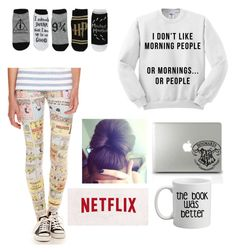 """I don't like morning people."" by alwaysapotter-head ❤ liked on Polyvore featuring moda y Hybrid Tees"