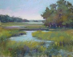 My Favorite Foreground Technique .Marshes by Karen Margulis (pastel) Pastel Landscape, Watercolor Landscape, Abstract Landscape, Landscape Paintings, Watercolor Paintings, Watercolors, Paintings I Love, Beautiful Paintings, Pastel Paintings