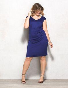 Plus Size Scuba V-Neck Ruched Dress   dressbarn