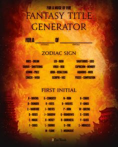 Write Your Own Bestseller With This 'Fire' Fantasy Title Generator Writing Promps, Book Writing Tips, Creative Writing Prompts, Writing Characters, Writing Help, Book Title Generator, Funny Name Generator, Story Name Generator, Dragon Names Generator