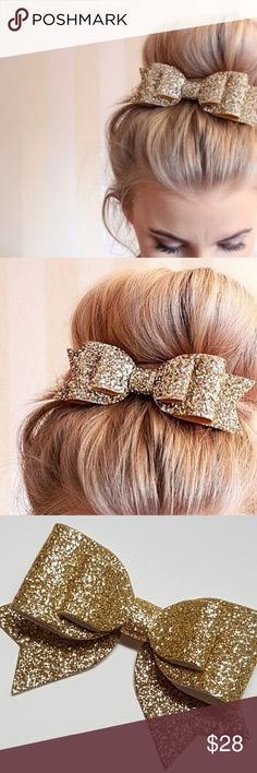 Gold Glittery Hair Bow So cute and sophisticated! Wear this beautiful gold glittery hair bow to work or out dancing. Perfect accent for buns or even in a fishtail mermaid braid. Brand new! Nanobunny Accessories Hair Accessories