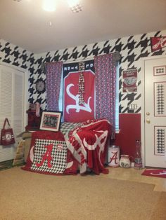 My Alabama room I've been working on. Houndstoothed the walls and the door myself! :)