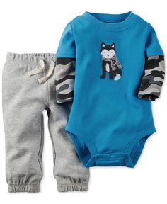 Carter's Baby Boys' 2-Piece Husky Bodysuit & Pants Set
