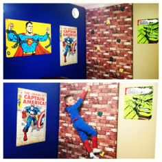 Complete with faux brick spiderman climbing wall. Every little boys dream room MUST have a climbing wall. Should I be this brave? Batman Room, Superhero Room, Avengers Room, Kids Room Organization, Faux Brick, Kids Bedroom, Bedroom Ideas, Room Themes, Boy Room