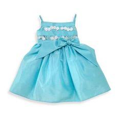 Kim Turquoise Shantung Dress with Lace Bodice - BedBathandBeyond.com